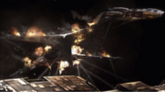 Basestar destroyed by Galactica and Pegasus