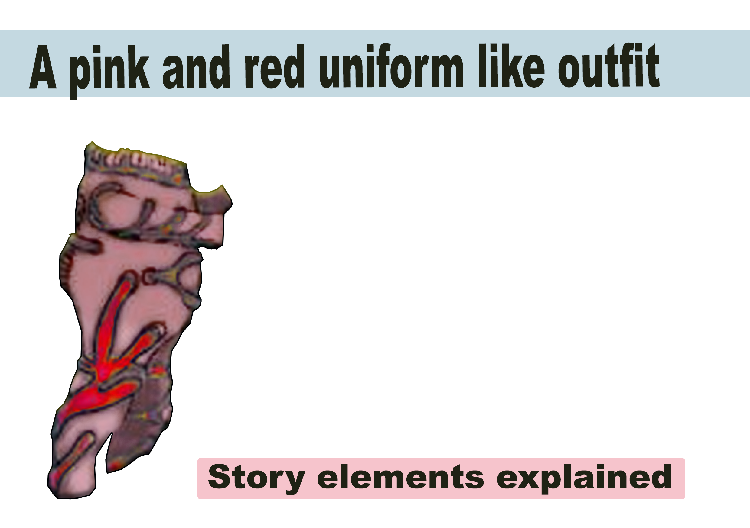 A pink and red uniform like outfit