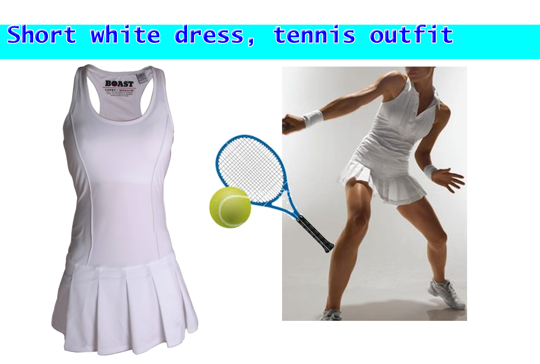 Short white dress, tennis outfit