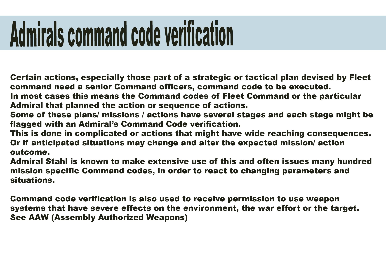 Admirals command code verification