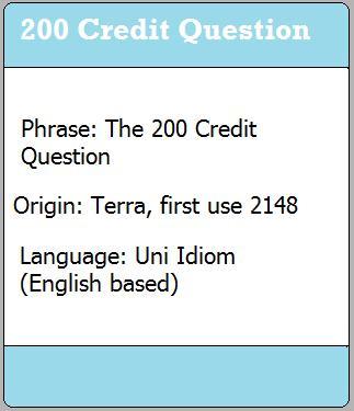 200 Credit Question