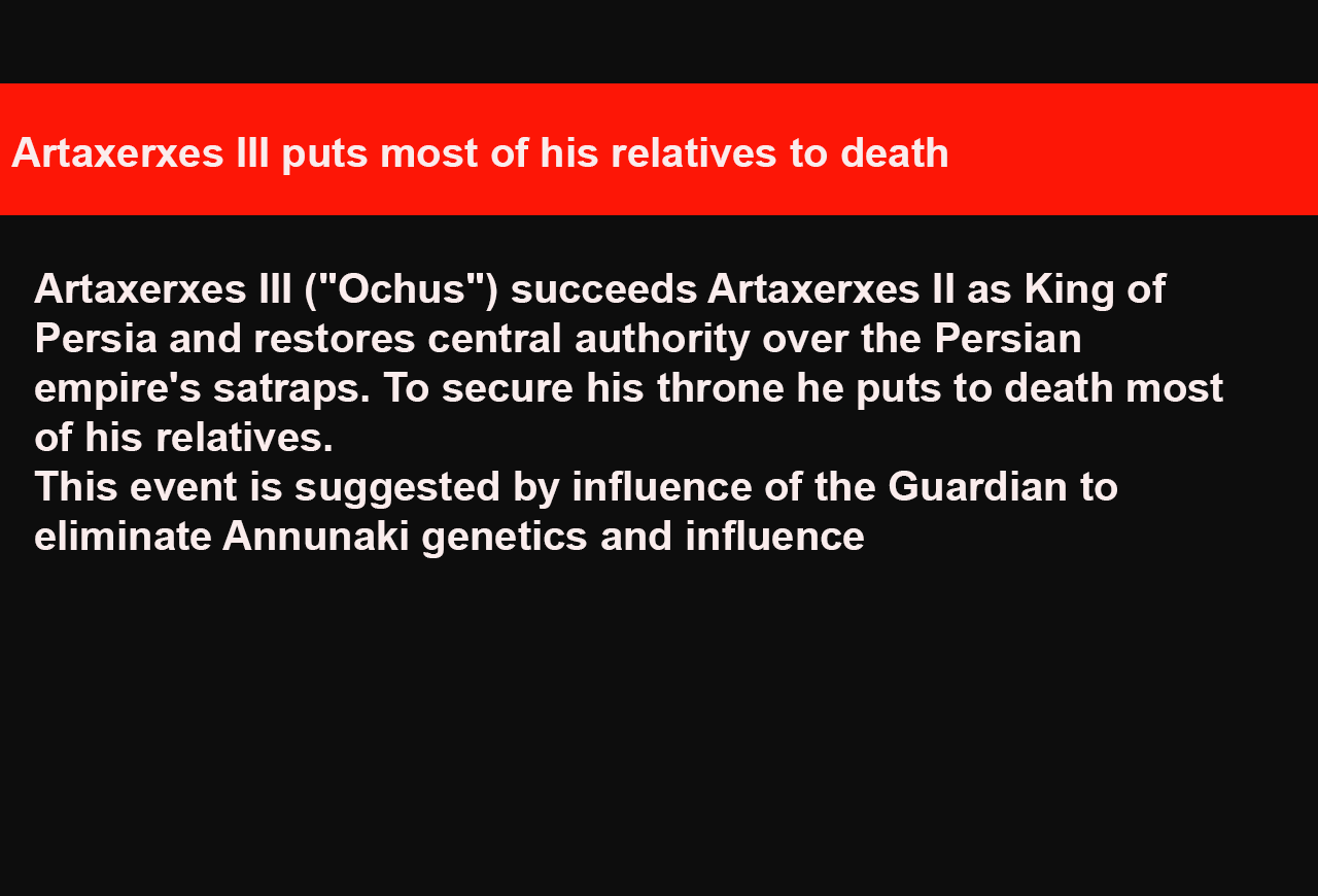 Artaxerxes III puts most of his relatives to death
