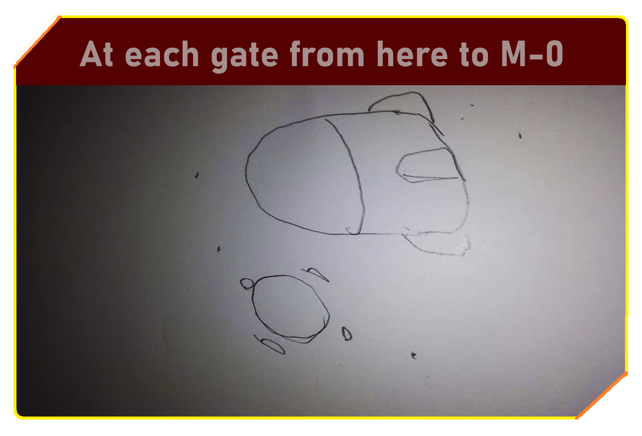 At each gate from here to M-0