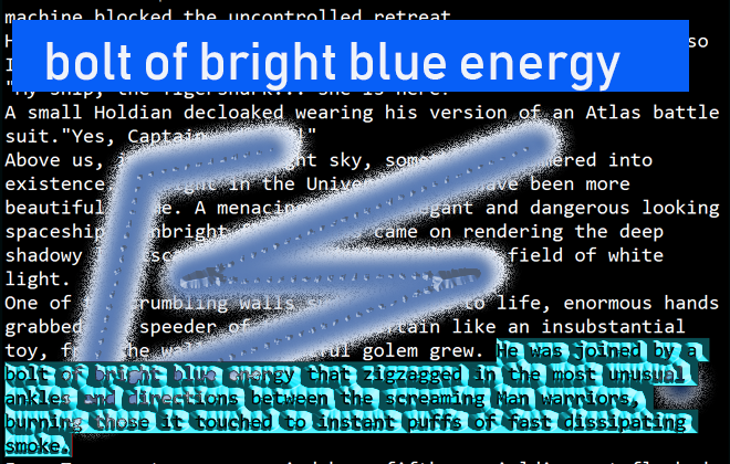 Bolt of bright blue energy