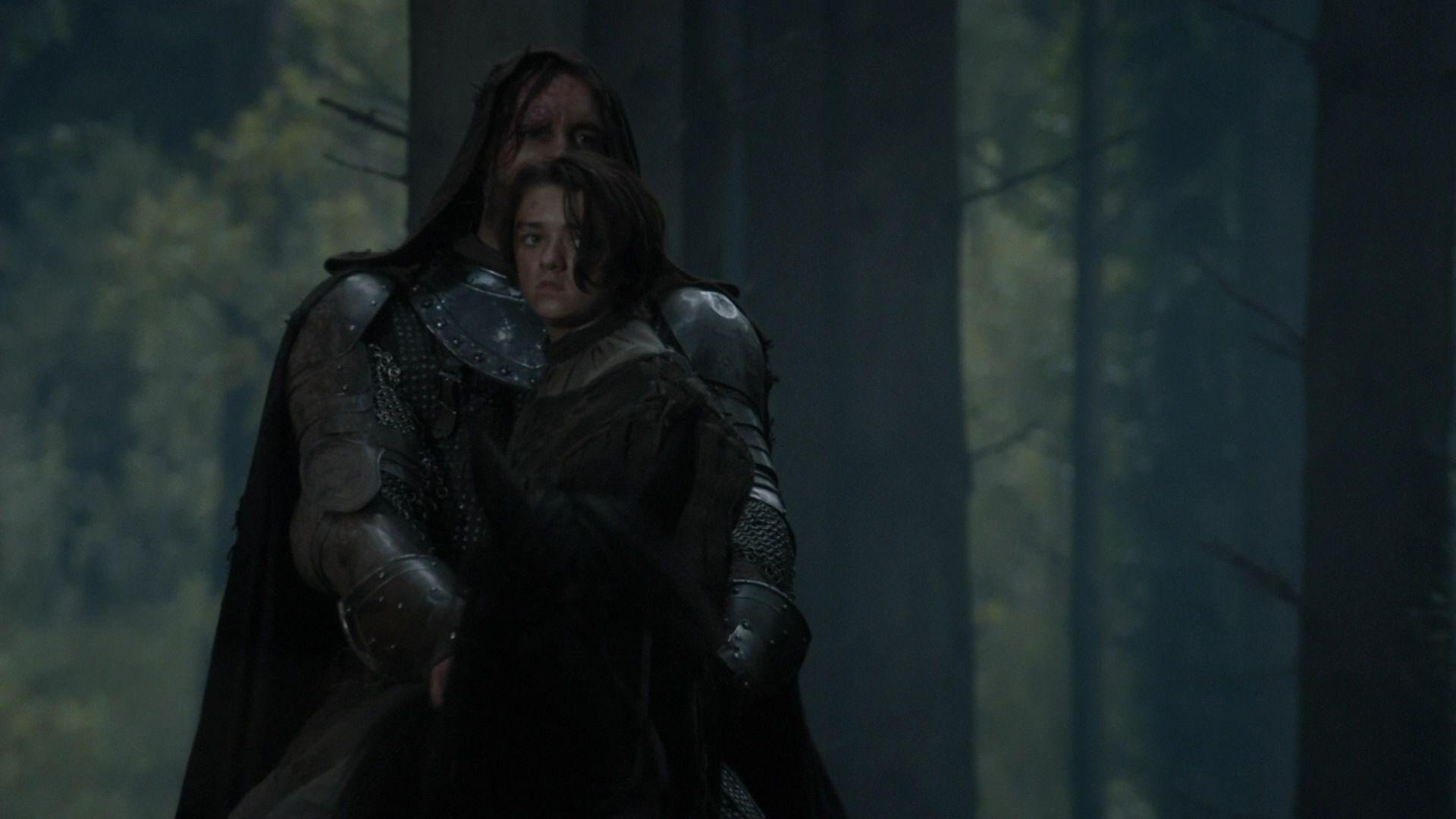 Arya et Sandor quittent les Jumeaux (3x10).jpg