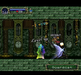 Alucard che aumenta di livello in Castlevania: Symphony of the Night