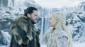 Jon Dany Waterfalls at Winterfell s8 ep1