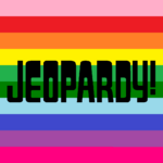 Jeopardy! Logo in Horizontal Rainbow Stripes Background in Black Letters