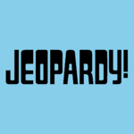 Jeopardy! Logo in Sky Blue Background in Black Letters