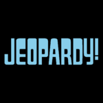 Jeopardy! Logo in Black Background in Sky Blue Letters