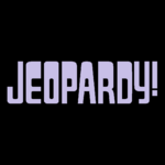Jeopardy! Logo in Black Background in Lavender Letters