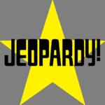 Jeopardy! Logo in Star Background in Black Letters