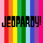 Jeopardy! Logo in Vertical Rainbow Stripes Background in Black Letters