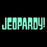 Jeopardy! Logo in Black Background in Aquamarine Letters