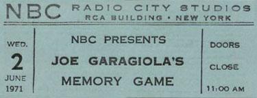Joe Garagiola's Memory Game