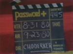 Password Plus Production Slate 1980