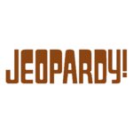 Jeopardy! Logo in White Background in Saddle Brown Letters