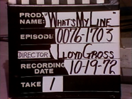 What's My Line Production Slate 19721019