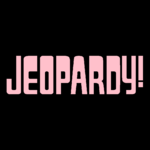 Jeopardy! Logo in Black Background in Pink Letters