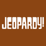 Jeopardy! Logo in Saddle Brown Background in White Letters