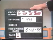 To Tell the Truth Production Slate 19680508