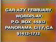 Wordplay Car-Azy February Address