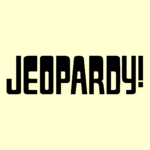 Jeopardy! Logo in Cream Background in Black Letters