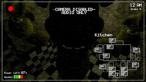 First footage of the kitchen camera in Five nights at freddys