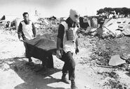 Lebanese soldiers removing bodies from the Sabra and Shatila massacre, Lebanon 1982