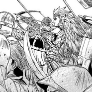 Myuute with brigands during the first battle of Italica, Manga Chapter 9 page 4