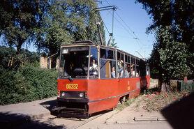 Gdańsk Tramwaj. 105N car 06332 at Brzeźno, en route for Oliwa, Linia 7. Aug 1990