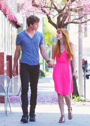 Bella-thorne-bright-pink-dress-with-boyfriend