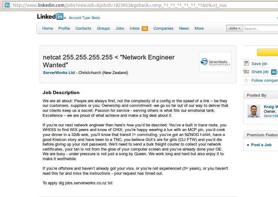 Serverworks sexist job advert