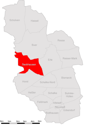 Lage von Beckhausen in Gelsenkirchen