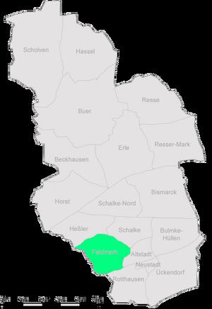 Die Stadtteile Gelsenkirchens mit der Feldmark im Zentrum.