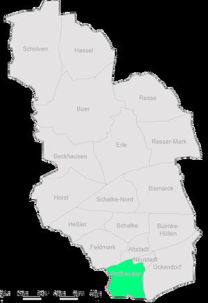 Die Stadtteile Gelsenkirchens mit Rotthausen im Südwesten