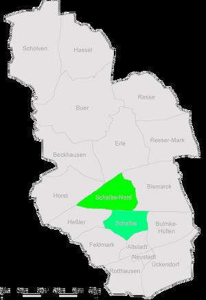 Die Stadtteile Gelsenkirchens mit Schalke und Schalke-Nord im Zentrum