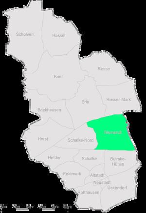 Die Stadtteile Gelsenkirchens mit Bismarck im Osten