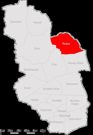 Karte von Gelsenkirchen, in der Resse im Nordosten.