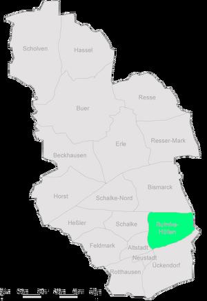 Die Stadtteile Gelsenkirchens mit Bulmke-Hüllen im Osten