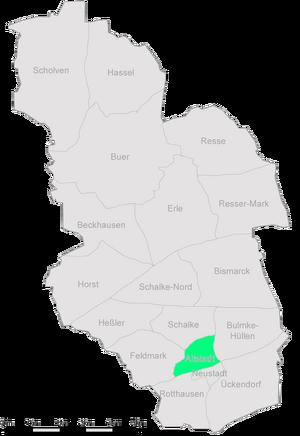 Die Stadtteile Gelsenkirchens mit der Altstadt im Zentrum.