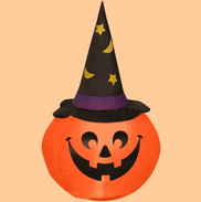 4-ft Pumpkin with Witch Hat