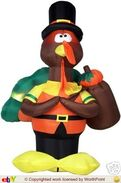 Gemmy inflatable standing turkey with bag