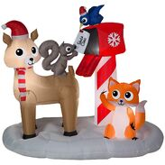 6' Wide Airblown Woodland Creatures Mailing Letter to Santa Scene