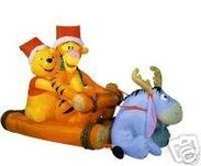 Airblown Inflatable Pooh and friends sleigh ride