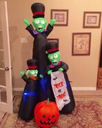Gemmy Prototype Halloween Trick or Treat Zombie Trio Inflatable Airblown
