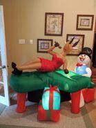 Gemmy inflatable snowman reindeer piano scene