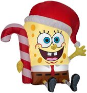 Airblown Inflatable Spongebob with candy cane