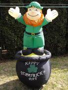 St Patrick's Day Gemmy Airblown Leprechaun On Pot Of Gold 6' Tall in BOX