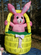 RARE Gemmy 8' Lighted Easter Bunny Rabbit in Basket Airblown Inflatable Blow-up